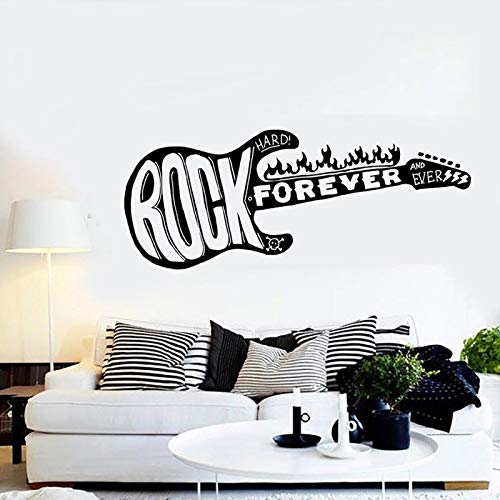 Guitar Music Forever Rock Guitar Fire Vinilo para el hogar Etiqueta de la pared