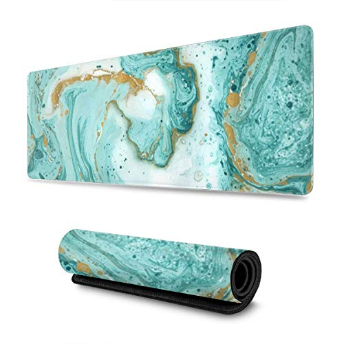 Glitter Marble Large Gaming Mouse Pad with Stitched Edges (31.5x11.8In), Extended Mousepad Non-Slip Rubber Base Keyboard Mat Desk Pad for Work Gaming