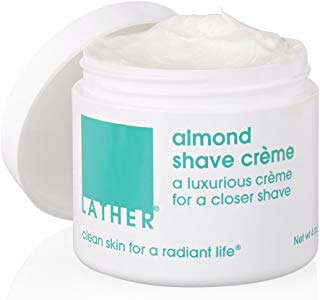 LATHER Almond Shave Crème, 4 Ounce Jar