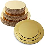 GREEN KRAFT Combo 8 INCH,9 INCH,10 INCH Round Cake Board,Base, 15 Piece Premium Gold Cake Circles, Corrugated, Cake Board, Gold + Free 2 Return Gift Chocolate Printed Boxes