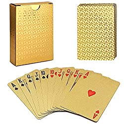 professional Acelion Waterproof Plastic Trump, Black Deck, Poker Gift Card (Blue Wolf Card)