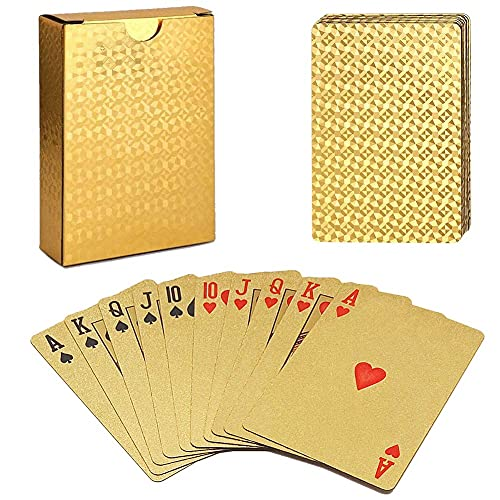 ACELION Waterproof Playing Cards, Plastic Playing Cards, Deck of Cards (Gold Diamond Cards)