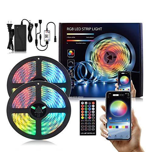 Luces de tira LED, luz de fondo LED para 40-60 en TV, Multi Color Mood TV LED 24 teclas Control remoto, Armario para el hogar Decoración de iluminación de boda 10m300led
