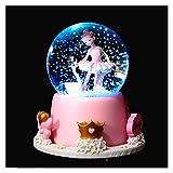 ZIJ Caja de música con forma de ángel y bola de cristal, regalo de cumpleaños para niña, estrella, luna, arco iris, copos de nieve, caja de música para decoración del hogar (color: oro)