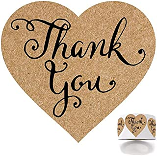 500 Rustic Thank You Stickers, 1.5 inches Round Adhesive Labels for Gift, Wedding, Party, Company Giveaway & Birthday Party, Mailing Supplies for Small Business Boutique Bags & Merchandise Bags.