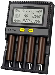 MiBOXER 18650 充電器 電池充電器 ミニ四駆 電池 【 C4上位版 最大2.5A充電可能 】 C4-plus
