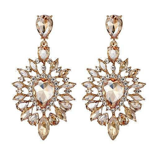 Clearine - Orecchini pendenti da donna a forma di candelabro a goccia, con cristalli e cristalli e...