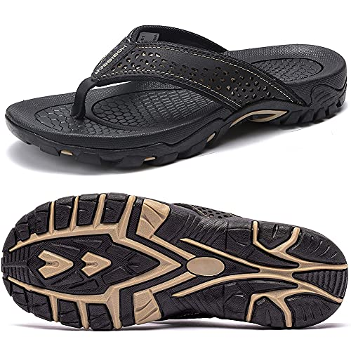 ChayChax Infradito Uomo Scarpe da Spiaggia e Piscina Antiscivolo Sandali Sportivi Pantofole Ciabatte da Mare Gomma Suola per Sostegno dell'Arco,Nero,44 EU