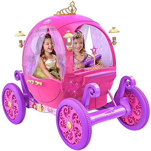 24 Volt Rechargeable Disney Princess Pink Carriage,Can Fit 2 Children