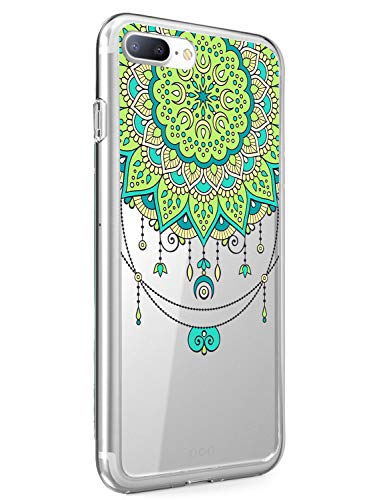 Suhctup Funda Compatible con iPhone 5/5S/SE,Carcasa Protectora de Silicona Transparente TPU Bumper con Floral Diseño,Ultra Fina Anti-Choques y Anti-Arañazos Resistente Case,Verde