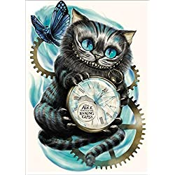 AIRDEA DIY 5D Diamond Painting by Number Kit, Cat Clock Crystal Rhinestone Embroidery Cross Stitch Arts Craft Canvas Wall Decor