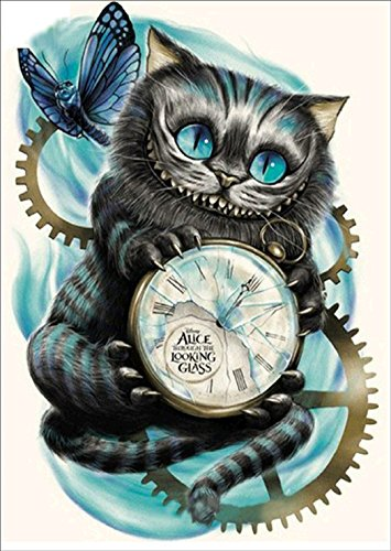 DIY 5D Diamond Painting by Number Kit, Cat Clock Diamond Painting Kits for Adults Crystal Rhinestone Embroidery Cross Stitch Arts Craft Canvas Wall Decor 30x40cm