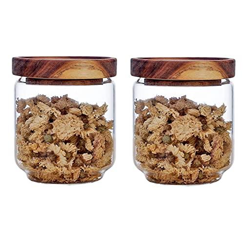 Annfly 2 tarros de almacenamiento de vidrio con tapa de madera, apilables, contenedor de almacenamiento para té, recipiente sellado para recipiente de cocina (500 ml)