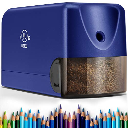 Heavy Duty Electric Pencil Sharpener, Classroom Pencil Sharpener for 6.5-8mm No.2/Colored Pencils, UL Listed Industrial Pencil Sharpener w/Stronger Helical Blade, Blue
