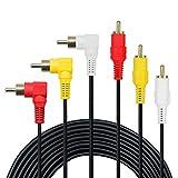 Câble 3 RCA - Câble audio/vidéo RCA plaqué or premium, câble audio/vidéo composite 3 mâle/mâle à angle droit de 90 degrés, 0.5M