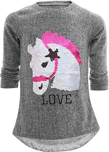 Einhorn Unicorn Pferd Mädchen Kinder Sweatshirt Pullover Wendepailletten Glitzer Bluse Langshirt Pulli (98-104, Pferd Grau)