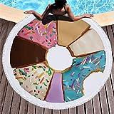 COEYU Toalla de Playa Flamencos Tuerca Impreso Microfibra Toalla de Playa Redonda para Adultos Secado rápido Grandes Suaves Toallas de Baño Traje de Baño de Verano Borla Cubierta de la Playa