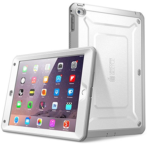 SUPCASE [Unicorn Beetle PRO Series] [Heavy Duty] Case for iPad Air 2,[2nd Generation] 2014 Release Full-Body Rugged Hybrid Protective Case with Built-in Screen Protector (White/Gray)
