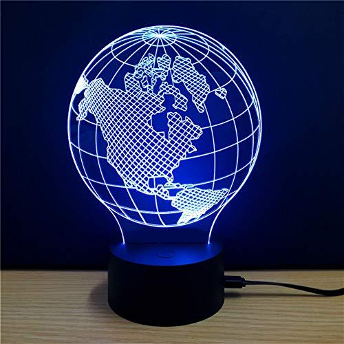WZYMNYD Coloré Terre Modèle 3D LED Lampe de Table USB Charge Éclairage Intérieur Night Lights Lumière Décorative Pour Home Office Bar Hôtel