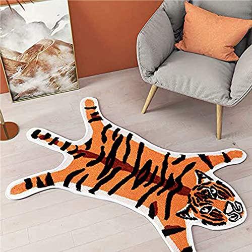 Piel Impresa De Tigre Alfombra,Falsa Piel No-resbalón Felpudos,Animal Lavable Súper Suave Alfombra Para El Dormitorio De La Sala De Estar Del Ministerio Del Hogar-Naranja tigre 54.5x82cm(21x32inch)