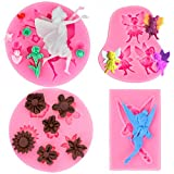 Konsait Fairy Angel Flowers Silicone Molds, 4 Pcs Decorating Fondant Chocolate Candy Gum Paste Clay Sugar Icing Pastry Craft Baking Tool for Wedding Birthday Party Cake Decoration Cupcake Topper