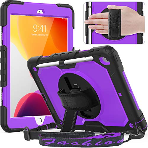 Timecity Case for iPad 7th Generation, iPad 10.2 Case with Built-in Screen Protector Pencil Holder, Heavy Duty Protective Cover with 360°Rotatable Stand Adjustable Hand Strap Shoulder Strap, Purple