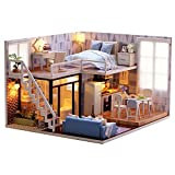 MAGQOO 3D Dollhouse Miniature with Furniture, DIY House Kit with Dust Proof 1:24 Scale Creative Room Idea (Blue Times)