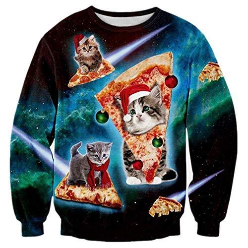 RAISEVERN Estilo Gatito del Gato de Navidad Feo Lindo en el diseño de Pizza Vacaciones de Navidad Suéter Superior para los Hombres de Las Mujeres