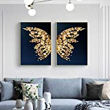 wall prints Beautiful Abstract Butterfly Wings Set Poster Canvas Painting Wall Art Prints Picture for Bedroom Home Decoration 50X70X2 Pcs No Frame