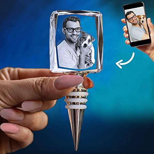 ArtPix 3D - Accesorios personalizados de cristal grabados con láser - Tapón de vino - Rectángulo | Regalos personalizados ideales para cualquier ocasión