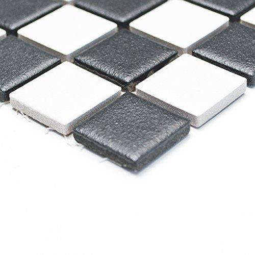 Piastrelle a mosaico piastrelle bagno in ceramica liscia in bianco e nero da 6 mm nuovo #244