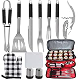 POLIGO 12pcs Stainless Steel BBQ Grill Tools Set with Red Insulated Waterproof Cooler Bag - Premium Barbecue Grill Accessories for Christmas Birthday Dads Presents Ideal Grilling Gifts for Men Women