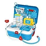 Kit de juguete médico para niños de 17 piezas, estuche de transporte médico para médicos y enfermeras, juguetes de simulación, juego de plástico para médicos y enfermeras para niños y niñas de 3 años