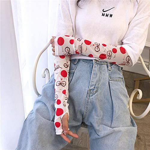 WFire Manga de protección solar para mujer Manga de hielo Brazalete de seda para montar en el exterior Juego de brazo de conducción, lunares de prostituta