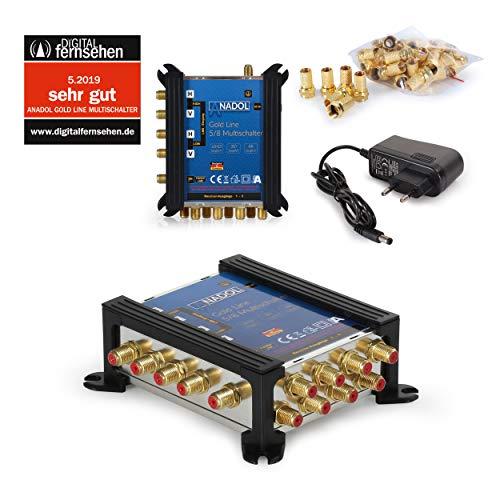 Anadol Gold Line Multischalter 5/8 für Satellit - Multiswitch für 1 Satelliten und 8 Ausgänge/Receiver - Sat-Verteiler externes Netzteil - Multischalter Satanlage 13 vergoldeten F-Stecker