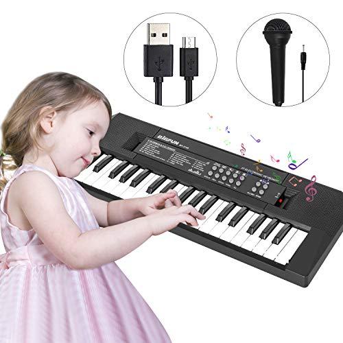 Shayson Klavier Keyboard Für Kinder, Multifunktions Digital Piano 37 Tasten Elektronische Klaviertastatur mit Mikrofon & Netzteil, Kinder und Einsteiger(Schwarz)