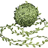 Supla 327 Ft Artificial Vines Fake Hanging Plants Leaves Ribbon Leaf Vine Trim Foliage Rattan DIY Wreath Foliage Green Leaves Ribbon Decorative Home Wall Garden Wedding Party Wreaths Decor