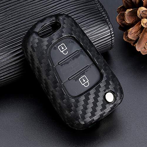 YANJHJY Funda para llave de coche de silicona con patrón de fibra de carbono, compatible con Hyundai I30 Solaris Verna Kia Rio K2 K5 Sportage Ceed, sin llavero