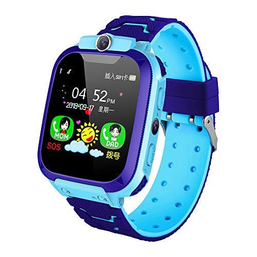 KKmoon Kids Intelligent Phone Watch com entrada para cartão SIM Tela sensível ao toque de 1,44 polegadas Smartwatch infantil com GPS Tracking Function Bate-papo de voz Fotografia compatível com todos os telefones Android e iOS rosa/azul