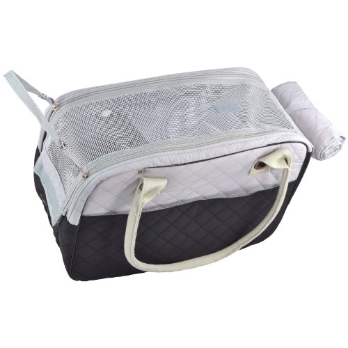 MG Collection Black/Gray Designer Inspired Stylish Quilted Soft Sided Travel Dog and Cat Pet Carrier Tote Hand Bag