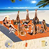 Fashion Beach Blanket, Oversize 108' x 120' for 10-12 AdultWaterproof Outdoor Portable Picnic Mat with 4 x Stakes & Corner Pockets - Beach Mat for Travel, Camping, Hiking, Music Festivals (Orange)