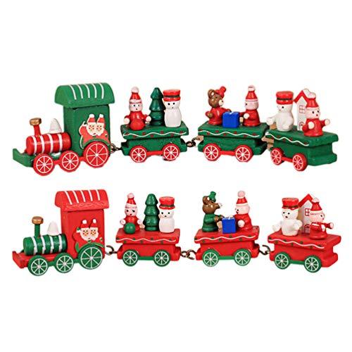 Toyvian 2 pezzi di treni di natale giocattoli creativi in legno trenino ornamento regalo di natale giocattolo per bambini (rosso e verde)