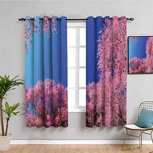 House Decor - Cortina de aislamiento para todas las estaciones, diseño de cerezo, color azul fucsia, 84 x 84 pulgadas