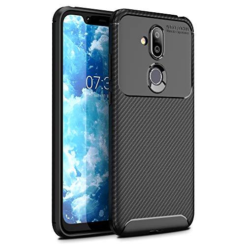 NALIA Hülle kompatibel mit Nokia 8.1, Carbon Erscheinungsbild Ultra-Slim Handyhülle Silikon Hülle Cover, Dünne Schutzhülle Skin Gel Etui Handy-Tasche Soft Backcover Thin-Fit Smart-Phone Schutz Bumper - Schwarz