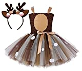 Tutu Dreams Baby Girls Deer Costume 100th Day of School Outfit Gifts Birthday Party Dress Up Reindeer Antlers Headband (Deer, 1-2T)