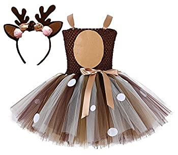Tutu Dreams Teen Girls Reindeer Costume Plus Size 10-12 Deer Tutu Outfits Halloween Dress Up Winter Recital Dance  Deer 9-10 Years