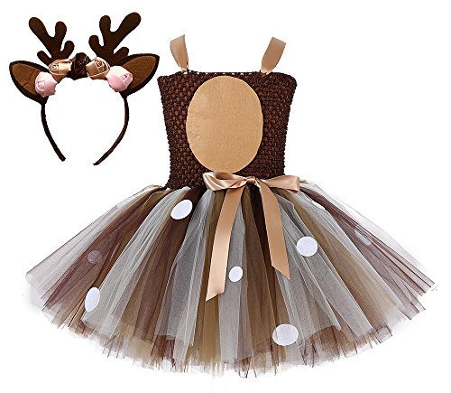 Tutu Dreams Teen Girls Reindeer Costume Plus Size 10-12 Deer Tutu Outfits Halloween Dress Up Winter Recital Dance (Deer, 9-10 Years)