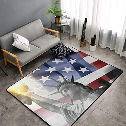 Patriotic Statue of Liberty with American Flag Area Rug Memory Foam Floor Pad Rugs with Anti-Skid Rubber Backing, Quick Dry Throw Bath Rugs Nursery Rugs Home Decor Ultra-Soft Nursery Rugs