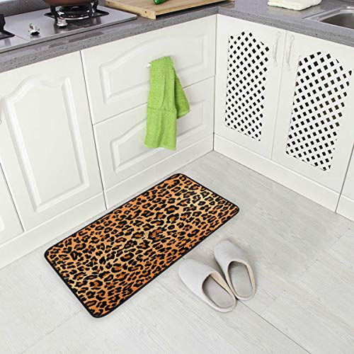 Best Leopard Print Oversized Chef Antifatigue Kitchen Mats Floor Mat Standing Mat Waterproof Nonslip Cushioned Rugs for Office Computer Desk 39 x 20 Inches