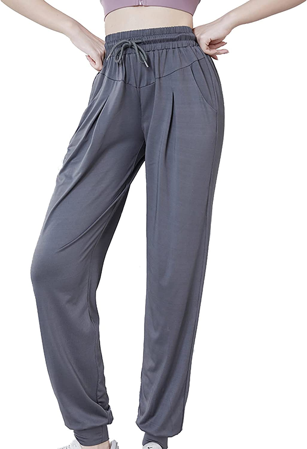 Schine Women's Jogger Pants High Waisted Sweatpants with Pockets Tapered Casual Lounge Pants Loose Track Cuff Leggings